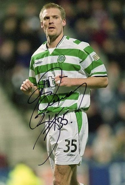 Johan Mjallby, Glasgow Celtic & Sweden, signed 12x8 inch photo.